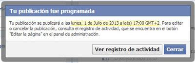 Programar publicaciones en Facebook. (2/4)